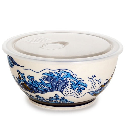 "BOWL W/LID HOKUSAI Wave 7""D 18oz"