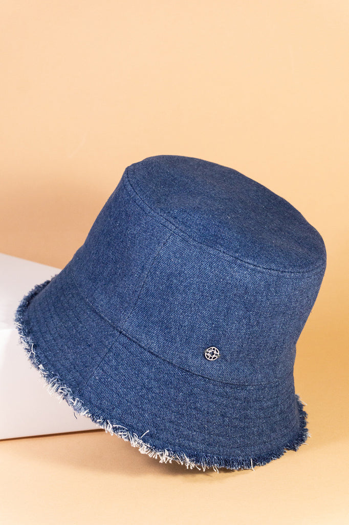 Jeans-Buckethat mit offener Kante