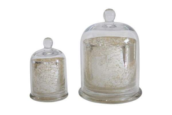 Candle Holder - Mercury Glass w Cloche (Med) - Portico Indoor & Outdoor Living Inc.
