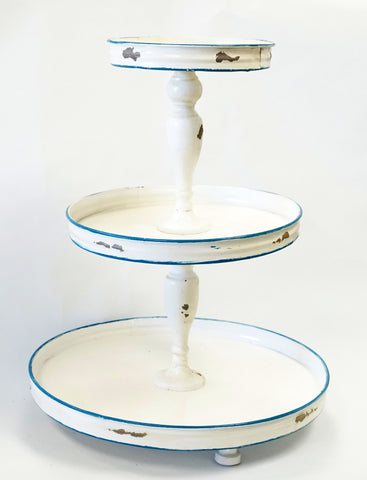 3 Tier Stand - Distressed Ant. White w/ Blue - Portico Indoor & Outdoor Living Inc.