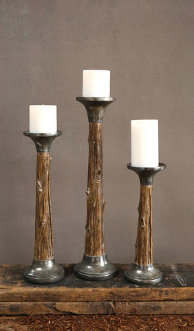 "Candle Holder - Tree Trunk Pillar 4 1/4"" x 13 1/4"" - Portico Indoor & Outdoor Living Inc."