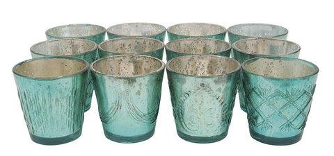 Candle Holder - Mercury Glass Distressed Aqua - Portico Indoor & Outdoor Living Inc.