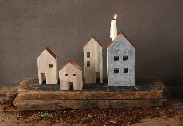 "Candle Holder - Cement House Taper  9 3/4"" x 5"" - Portico Indoor & Outdoor Living Inc."