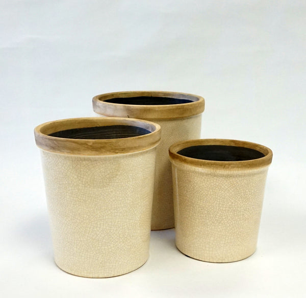Baxter Ceramic Cachepots-Sm-Antique White - Portico Indoor & Outdoor Living Inc.