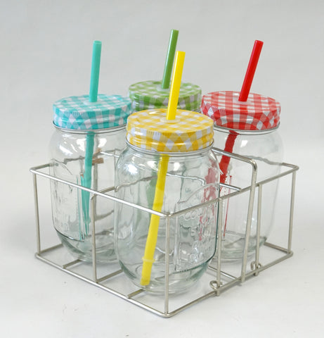 Beverage Caddy - 4 Glass Mason Jars w/ Straws - Portico Indoor & Outdoor Living Inc.