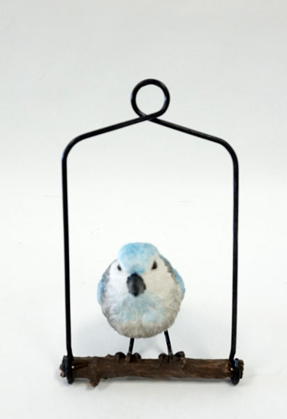 Bird Ornament on Metal Perch - Blue - Portico Indoor & Outdoor Living Inc.
