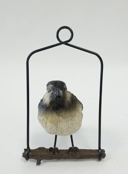 Bird Ornament on Metal Perch - Grey - Portico Indoor & Outdoor Living Inc.