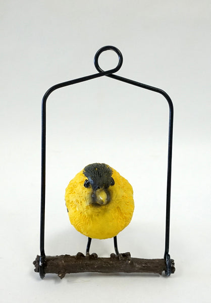 Bird Ornament on Metal Perch - Yellow - Portico Indoor & Outdoor Living Inc.