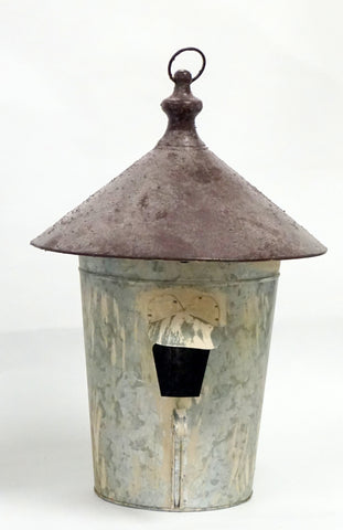 Birdhouse - XL Distressed Metal w/ Rust Roof and Awning - Portico Indoor & Outdoor Living Inc.