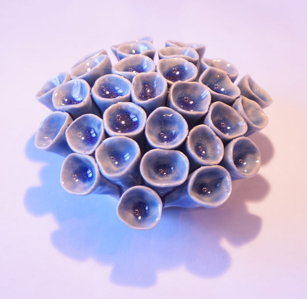 Ceramic Flower - Coral Pod Med Blue - Portico Indoor & Outdoor Living Inc.