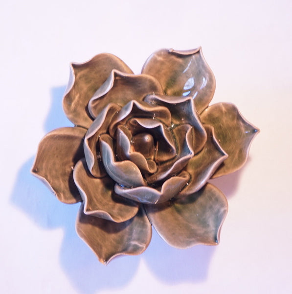 Ceramic Flower - Succulent Bloom Med Olive - Portico Indoor & Outdoor Living Inc.