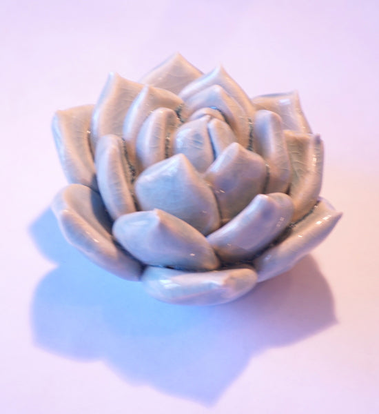 Ceramic Flower - Succulent Med Lt Blue - Portico Indoor & Outdoor Living Inc.