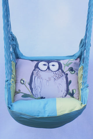 Swing Set-Meadow Mist Stripe w/Owl on Green Branch