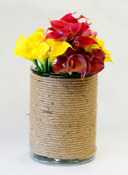 Hester Rope Wrapped Glass Vase-Large Natural - Portico Indoor & Outdoor Living Inc.