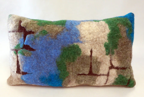 Pillow - Felted Wool Cracked Earth Blue - Portico Indoor & Outdoor Living Inc.