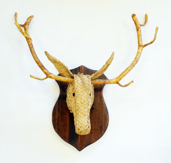 RUSH STAG HEAD W/ WOOD SHIELD - SMALL - Portico Indoor & Outdoor Living Inc.