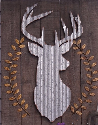 Corrugated Metal w Wood Deer Wall Art - Portico Indoor & Outdoor Living Inc.