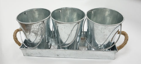 Bucket and Tray Set - 4 pc Metal - Portico Indoor & Outdoor Living Inc.