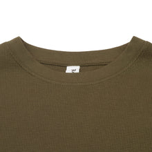 Load image into Gallery viewer, Waffle-Knit Thermal Long Sleeve Olive