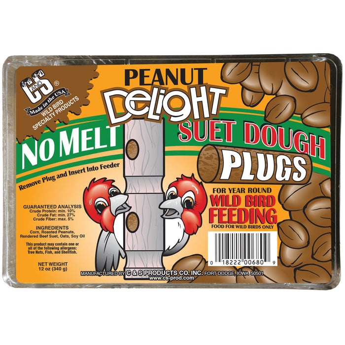 Product image for Peanut Delight No Melt Suet Dough Plugs, 12/pack