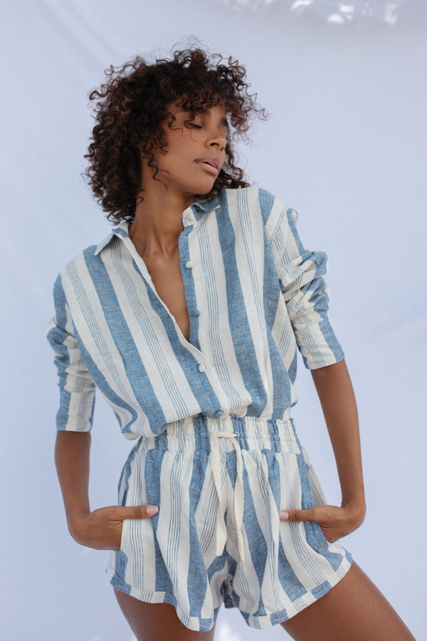 Maxwell  Shirt -  Striped Sky - Cobalt