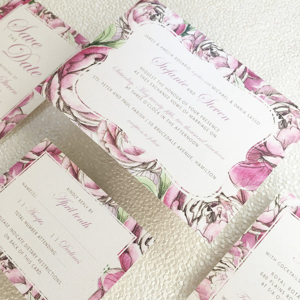 Pretty Peonies Wedding, Bridal Shower or Party Printed Invitation Suite 0101