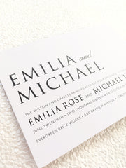Simple Elegance Wedding, Bridal Shower or Party Printed Invitation Suite 0105