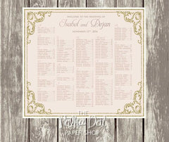 Glitter gold and blush pink Seating Chart 03991
