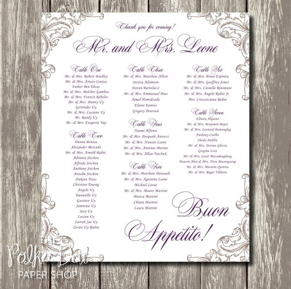 Gold and Plum Elegant Seating Chart 04030