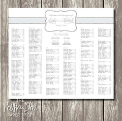 Glitter Effect Silver Monogram Seating Chart 04101