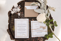Birch Bark Styled Woodland Flat Card Invitation with Twine Wrap 0178