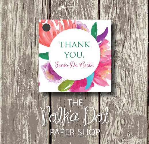 50 Colourful Watercolour Flowers Favour Tags 0698