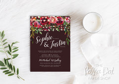 Marsala Lights Wedding Invitation 30240