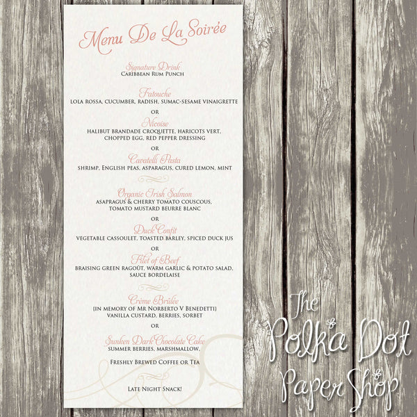 Wedding or Special Event Menu 0390
