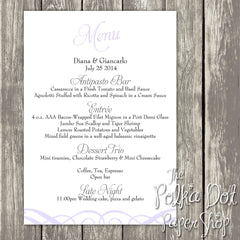 Wedding or Special Event Menu 0385