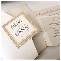Glitter Pocketfold Wedding Invitation #0119
