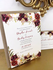 Fall Burgundy Florals Scalloped or Rectangular Printed Invitation 89753