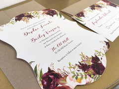 Fall Burgundy Florals Scalloped Custom Wedding Invitation 89758