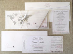 Custom Elegant Travel Themed Boarding Pass with Sleeves and Cute Airplane Charm 8302