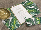Palm Tree Gold Foil Gatefold Wedding Invitation with Belly Band #586825