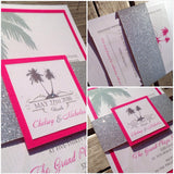 Destination Palm Tree Glitter Belly Band Wedding Invitation or Flat Card 0164a