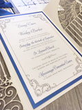 Glittering Gates with satin bow Gatefold Laser Cut Wedding Invitation #8802