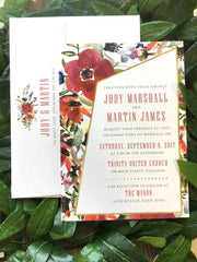 NEW 2018 - Asymmetrical Garden Floral Printed Wedding Invitation 10245