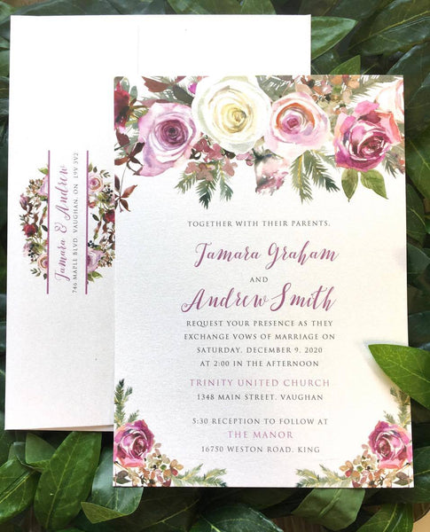 Frosty Roses Floral Printed Winter Wedding Invitation 10246