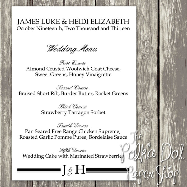 Wedding or Special Event Menu 0396