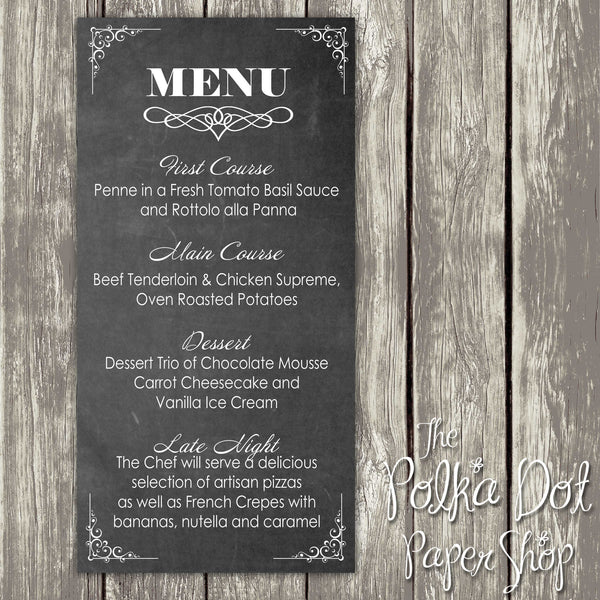 Wedding or Special Event Menu 0389