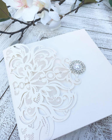 Elegant Pearl, White and Gold Pocketfold Laser Cut Wedding Invitation Pearl Button #157856
