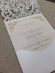 Elegant White and Blush Pink Laser Cut Wedding Pocket Fold Invitation #0466