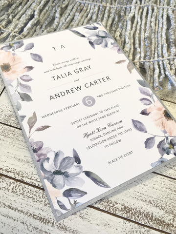 Dusty Wild Roses Wedding Invitation 63885