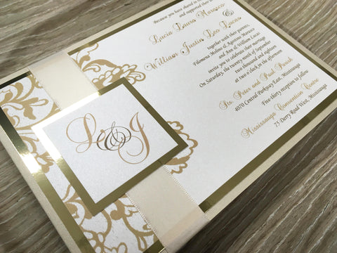 Luxury Gold Monogram Pocket Card Invitation 63890